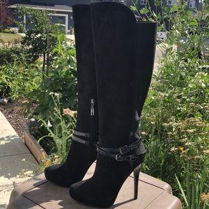 Ivanka Trump Waverly Black Heeled Boot - Size 6M